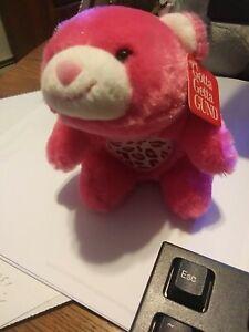 Vintage Gund Snuffles Bear Small 7 inch Pink Plush Stuffed Animal nod with tag