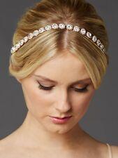 Rose Gold Bridal Headband with Genuine Preciosa Crystals and Ivory Ribbon