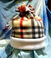 Plaid White Fleece Burberry Very Warm Winter Hat*Cap*Beanie*Double Layer*M/L