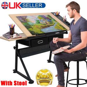 Adjustable Drafting Table Art Craft Drawing Desk 2 Drawer + Stool Architect Desk