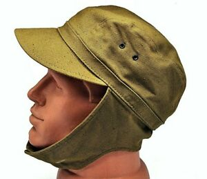 Army Afghanka Cap Military Russian Soldier USSR ORIGINAL Uniform Khaki Soviet