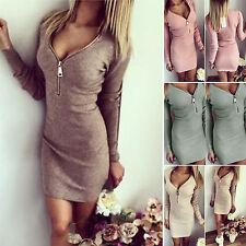 Women Bodycon V Neck Long Sleeve Party Cocktail Sweater Jumper Mini Dress Slim