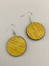 Round Circle Loop Women Earrings Hand Crafted Wooden Style Yellow