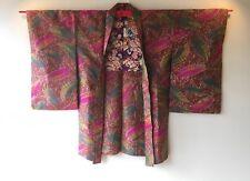 Vintage Japanese Kimono Haori Jacket Meisen Silk leaf
