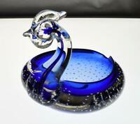 Vintage Murano Sommerso Glass Swan Bowl Retro c1960s
