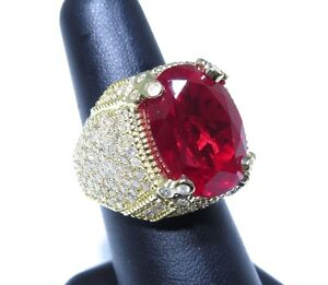 Mens 14k Yellow Gold Flashy Red Center Stone 5.00ct White Diamond Big Royal Ring