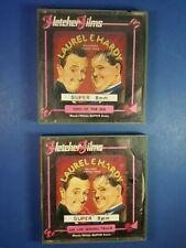 PAIR OF VINTAGE LAUREL & HARDY SUPER 8 mm MOVIE FILM REELS - FLETCHER FILMS