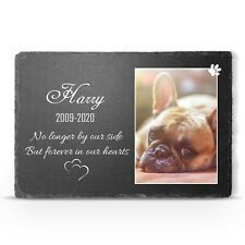 Personalised Pet Memorial Large Slate Grave Marker Cat Dog Custom Photo Plaque