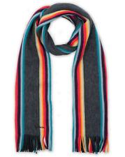 PAUL SMITH Multi Stripe Twisted Artist Wool Scarf Muffler *Made in Germany* GREY