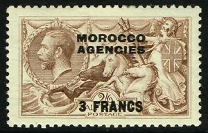 SG 200 MOROCCO AGENCIES 1924 - 3f on 2/6d CHOCOLATE-BROWN - MOUNTED MINT