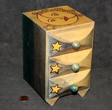 WOODEN 3-Drawer Chest SUN, MOON, and STARS, Gaming Die Game Dice Storage