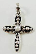 "Silpada Sterling Silver White Pearl Cross Pendant Handmade 1 7/8"" Religious"
