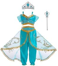 Girls Princess Jasmine Costume Halloween Party Dress Up for girl With Crown Wand