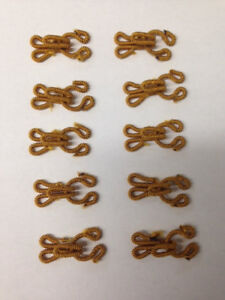 Set of 10 Gold Fabric Covered Furrier Hooks and Eyes