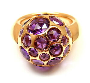 NEW! AUTHENTIC POMELLATO HAREM 18K YELLOW GOLD AMETHYST RING sz 4.5 with TAG
