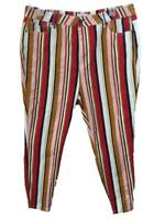 "Forever 21 pants size 16 black red gold stripe 4 pockets 27"" inseam straight leg"