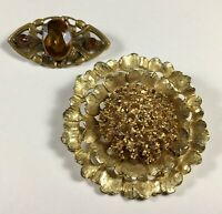 Art Deco Brooch Amber Colored Stones And Vintage Pin Gold Tone Flower 2 Brooches
