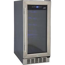 32 Bottle Built-In Undercounter Wine Cooler Refrigerator ~ Silver Stainless Door