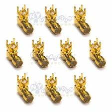 10 Pcs SMA-KWE Female Jack Right Angle PCB Board Mount Coaxial Adapter Connector