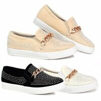 New Womens Ladies Casual Sneakers Flat Slip On Diamante Trainers Pumps Shoe Size