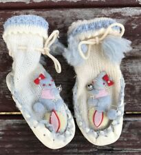 Vtg Baby Booties Moccasins Bunny Rabbit Blue White Tassel Leather Wool Stitched