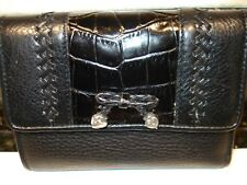 Brighton Black Embossed Croc Leather Tri Fold Wallet  Pre-Owned