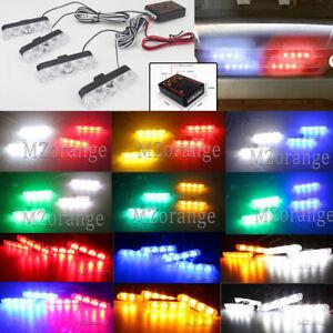4pcs 4 LED Car Truck Warning Flash Emergency Strobe Light Bar Lamps Wire Control