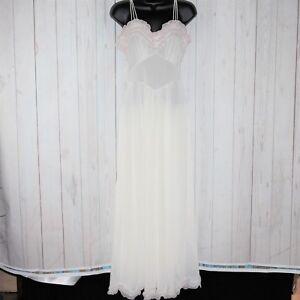 VTG 60s 70s Vanity Fair Sz 12 White Ruffled Wedding Lingerie Pin Up Night Gown