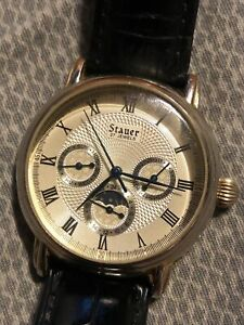 Stauer Men's Watch Gold Tone & Leather Automatic 20193
