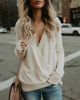 Women's Wrap V Neck Long Sleeve Shirt Ladies Knitted Sweater Jumper Tops Blouse