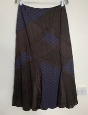 Per Una Maxi Skirt Size 10 12 S Purple Brown Patch Embroidered Flare