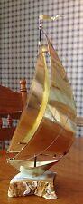 Vintage Artist Signed Brass Sailing Ship On Marble Base Sculpture