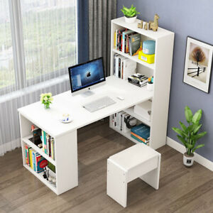 Large White Computer Desk Home Office PC Laptop Table with Book Shelves Storage