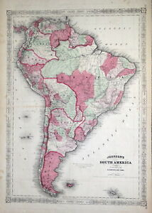 SOUTH AMERICA & FALKLAND ISLES Johnson Original Antique Hand Coloured Map c1865