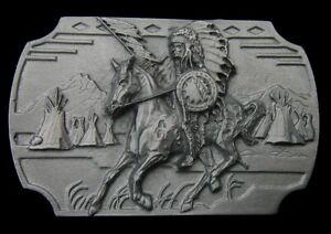 SIOUX WAR CHIEF CRAZY HORSE BELT BUCKLE SISKIYOU PEWTER NEW!