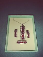 Fashion Garnet and CZ Jewelry Necklace Pendant Stud Earrings & Ring Sz 7 1/2 Set