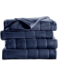 Sunbeam Heated Blanket,10 Heat Settings,Quilted Fleece,Newport Blue