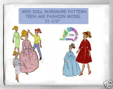 "Barbie Teen Doll Fits Wardrobe Pattern 11 1/2"" vintage 4592"