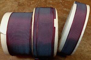 Vintage Rayon Trim Ribbon Acetate Blue Plum 1yd Made in France