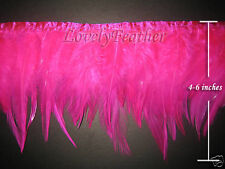 Hackle feather fringe of hot pink colour 1 metre trim for Crafts/Costume/Sewing