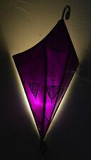 Moroccan Wall Sconce Light Fixture Decorative Henna Goat Skin Handmade Purple