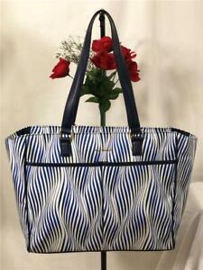 NWOT Vera Bradley Blue & White Wave Strips Ex Large Nylon Carryall Weekender Bag