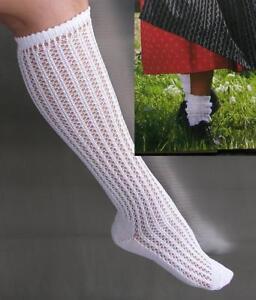 2 x Traditional Dirndl Knee Socks German White Openwork Lacy  L