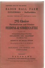 Baden Hall Farm , Eccleshall , Staffordshire : Sale Catalogue of 293 Hereford