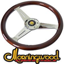 "MORNINGWOOD REAL MAHOGANY BROWN STEERING WHEEL 360MM/14"" DEEP DISH CLASSIC P1"