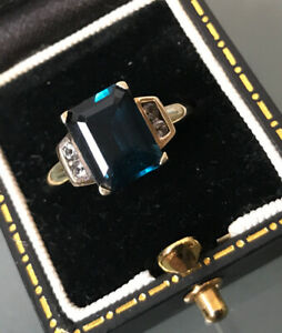 Women's 9ct Gold Blue Kyanite Stone Ring Quality Size O Weight 2.8g Hallmarked
