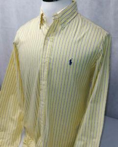 Ralph Lauren Pony Yellow Striped L/S Button Down Cotton Dress Shirt Mens 15.5