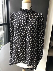 ISABEL MARANT Black and White Day Silk Blouse Size FR40 BNWT