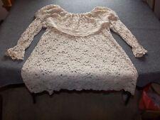 Vintage VICTORIA'S SECRET Lace Mini Dress P / S Small 3/4 Sleeve Beige-Tan