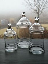 """Set of 3  Glass 6 1/2"""" 8"""" 9"""" Ring Cylindrical Apothecary Candy Jars Canisters"""
